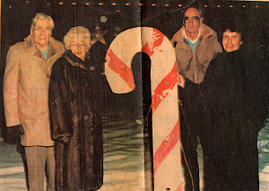 Esther and Ron Matchum & Anita and Ray MacLachlan with original candy cane. Photograph by Petr Honcu. Image courtesy of Candy Cane Lane organizers.