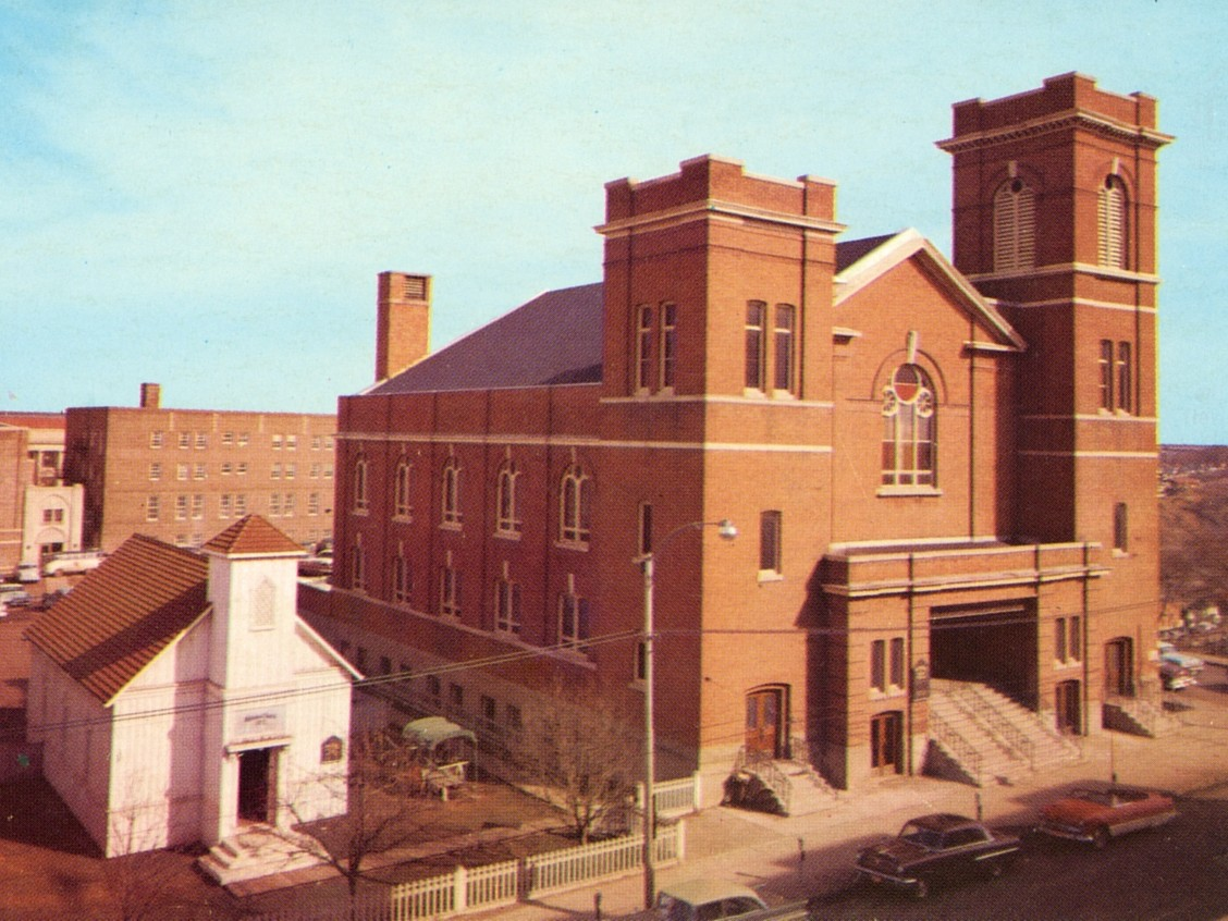 1873 and 1910 buildings at McDougall United Church, circa 1964 City of Edmonton Archives, EA-10-372.