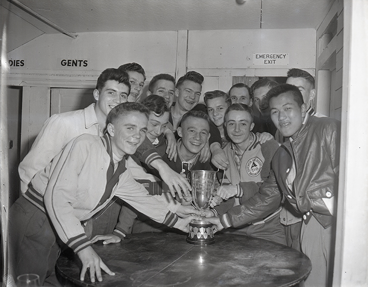 Hockey - Maple Leaf 'A' Midgets with Alberta Championship trophy April 27, 1949. Image courtesy of the City of Edmonton Archives EA-600-2306.