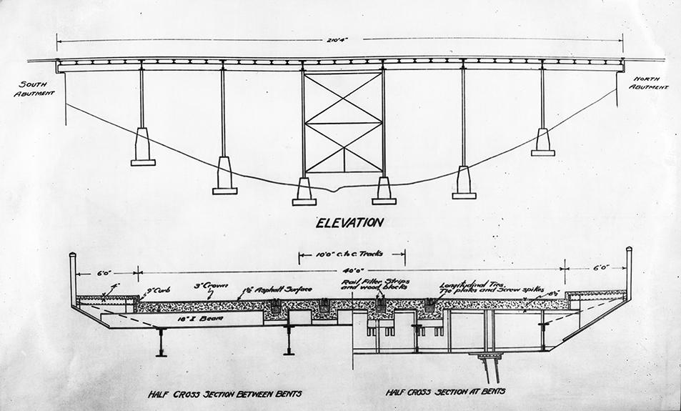 EA-75-879 Plans for Kinnaird Ravine Bridge, c. 1939, City of Edmonton Engineering Dept. Image courtesy of the City of Edmonton Archives.