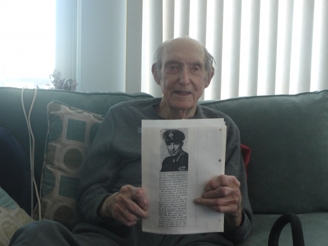 Owen with the photocopy of his service photo. Photo by D. Metcalfe-Chenail