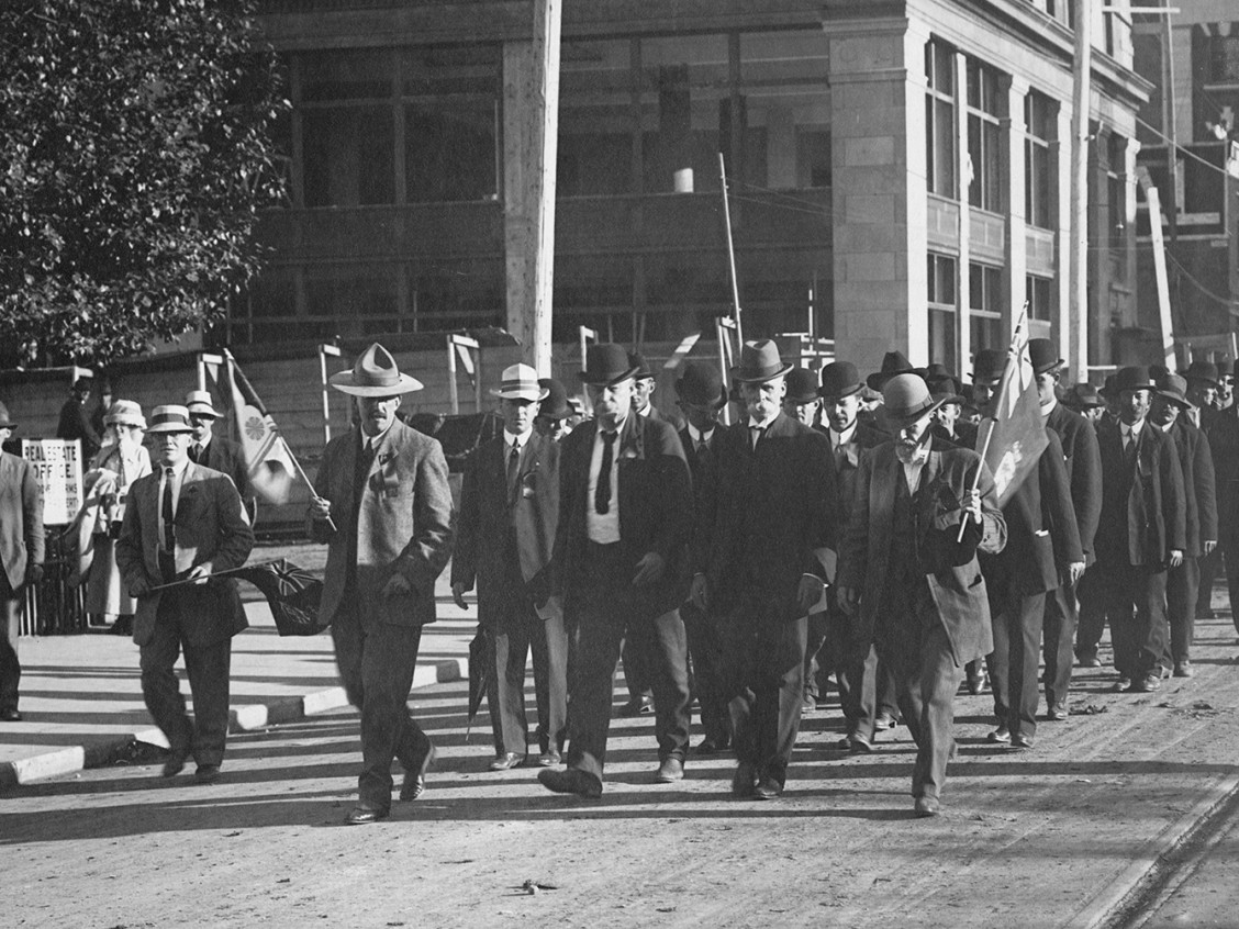 Frank Oliver leading a march through Edmonton. Image courtesy of the Provincial Archives of Alberta PR1992.0260.0007.