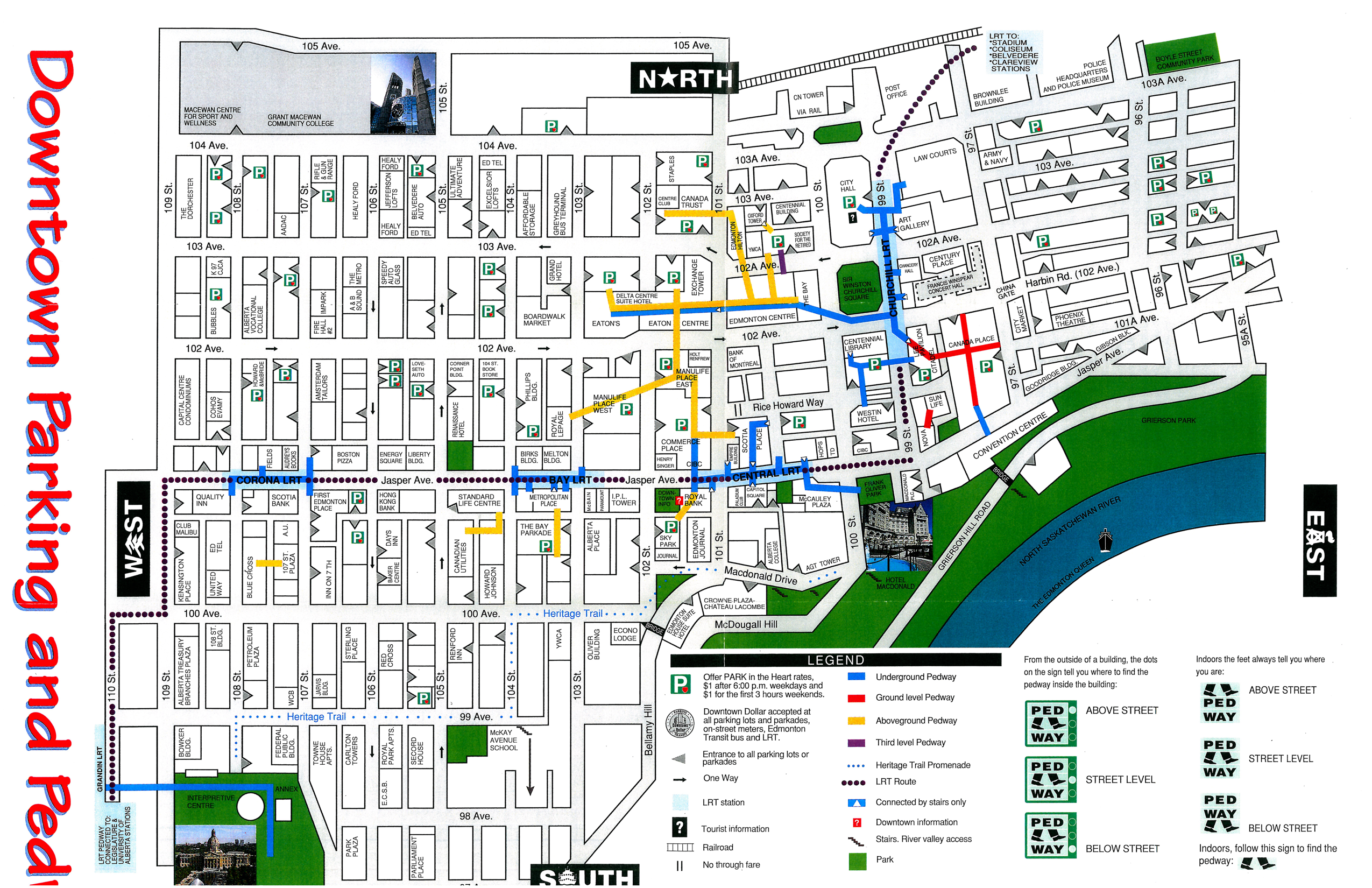 Edmonton Pedway Map 1996 Pedway map | Edmonton City As Museum Project ECAMP