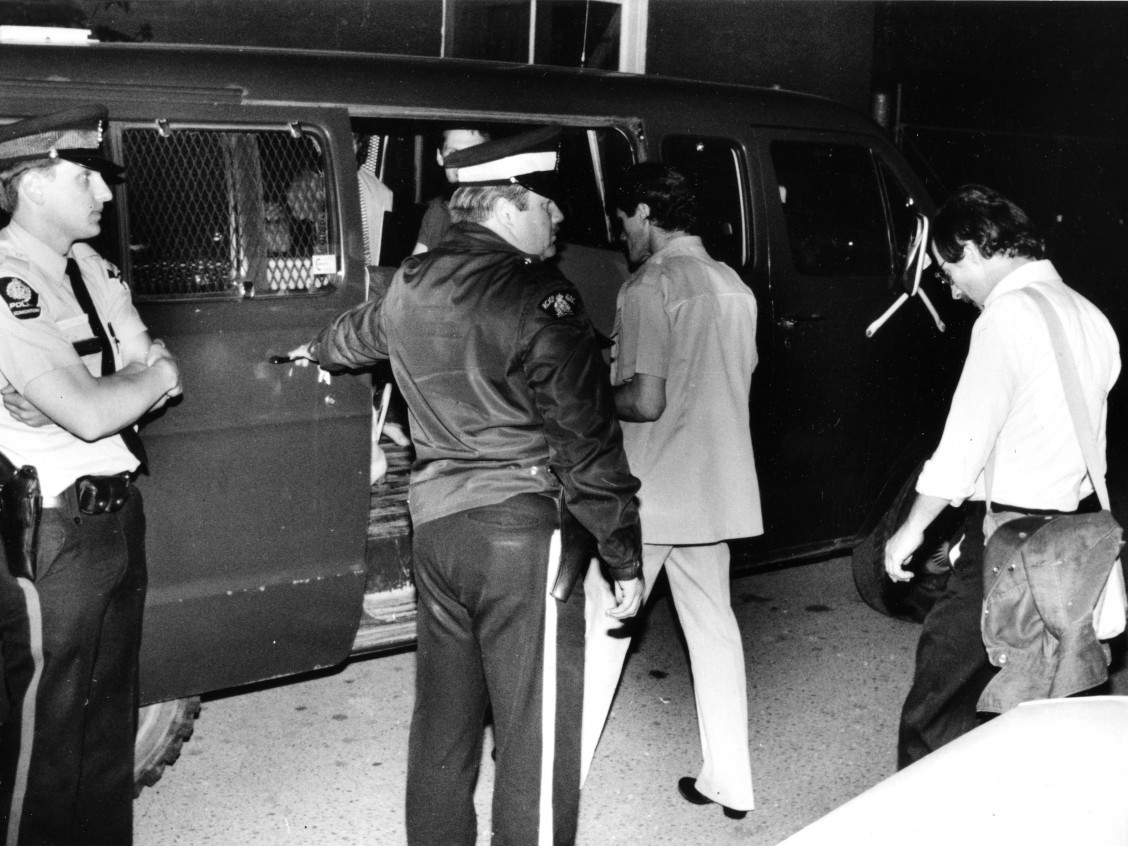 SATURDAY, NOVEMBER 13, 2010 PAGE A4 A May 30 1981 file photo showing men being led to a police van by Edmonton police after a raid on the Pisces Health Spa. Bill McKeown, Edmonton Journal, Original is P16791