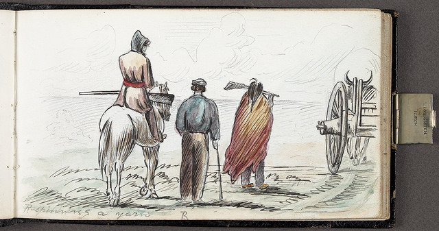 """""""R. spinning a yarn/R. raconte une histoire"""". Original art by William Hind c. July 1862. William George Richardson Hind collection. Library and Archives Canada, C-013967. Creative Commons License - https://flic.kr/p/pe6GQL"""