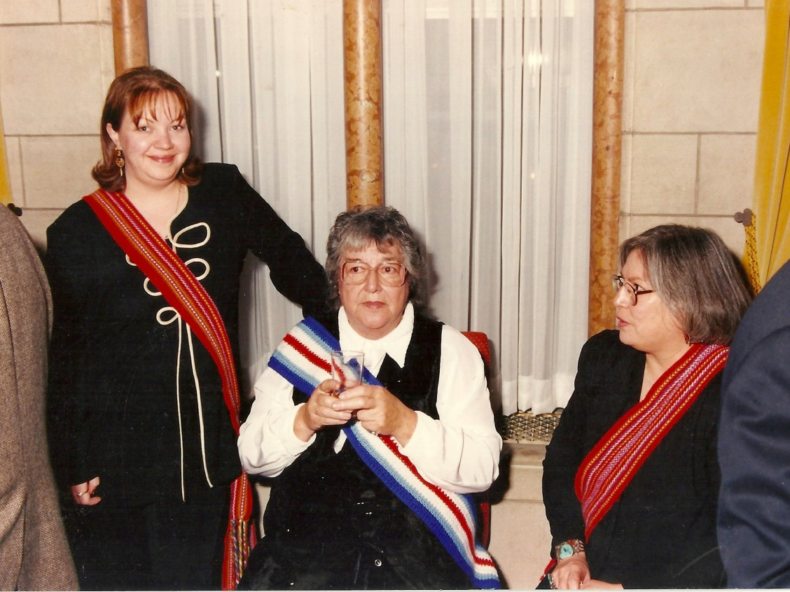 Thelma Chalifoux, seated in the middle. Image courtesy of Sharon Morin.