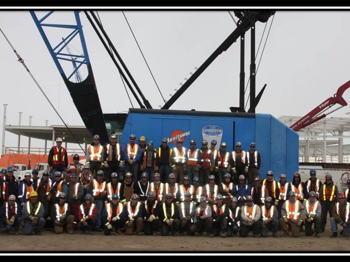 The Edmonton International Airport expansion project, photo circa 2015. Iron Workers from Local 720 contributed to the construction of the new bridge. Image courtesy of the Local 720 Iron Worker's Union, do not reproduce.