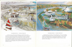 Artist rendering of plans for Rundle Park Site. Image Courtesy of the City of Edmonton Archives G.P. 1610 1973 Nov p.14-15: A Concept for Enhancing Water Based Recreation Opportunities on the North Saskatchewan River at Edmonton.