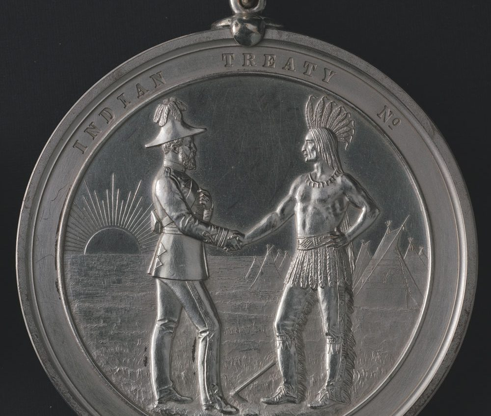 Indian Chiefs Medal, Presented to commemorate Treaty Numbers 3, 4, 5, 6, 7, 8 (Queen Victoria). Image courtesy of Library and Archives Canada Library and Archives Canada, Acc. No. 1964-1-1M.