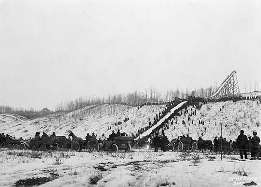 Ski jump run, Edmonton, circa 1914. Image courtesy of the Glenbow Archives NA-1328-2609.