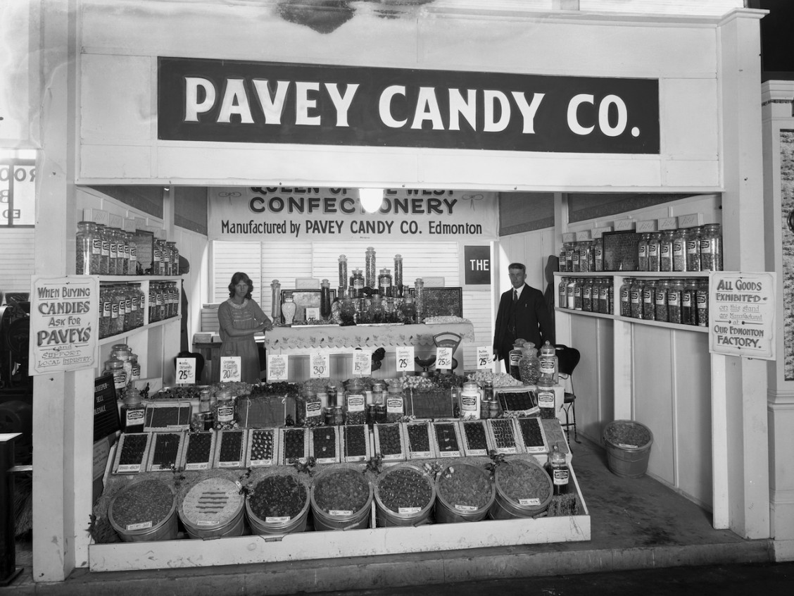 Pavey Candy Company booth at exhibition, Edmonton, Alberta c. 1923. Original photograph by McDermid Studios. Image courtesy of the Glenbow Archives.