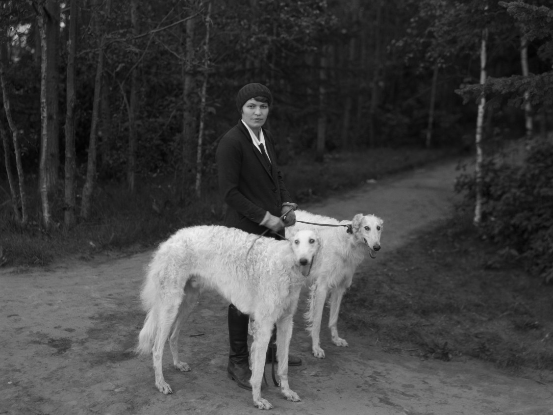 Miss Willa Sandison with dogs, Edmonton, Alberta. 1930 Glenbow Archives nd-3-5291