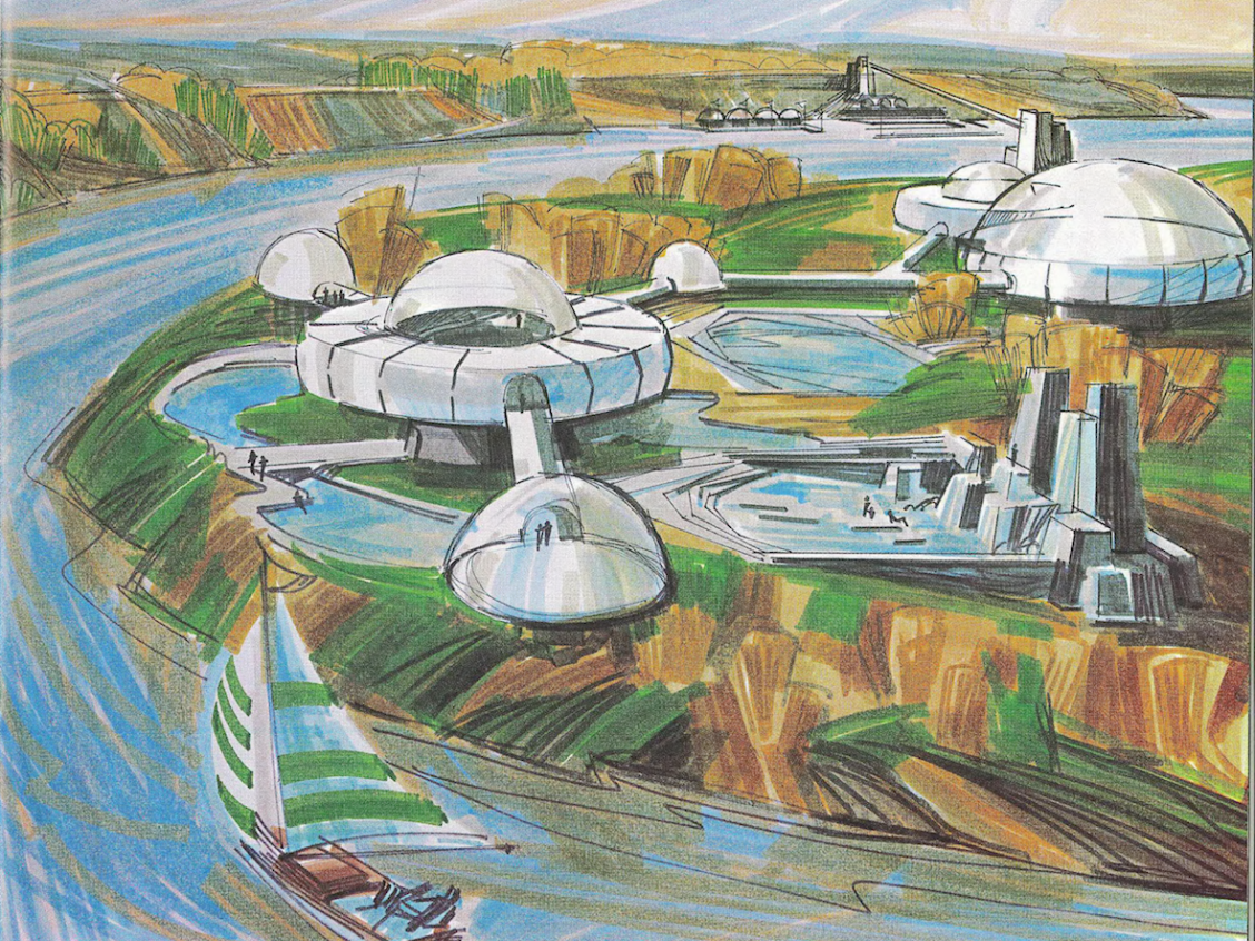 Artist rendering of plans for Rundle Park Site. Image Courtesy of the City of Edmonton Archives G.P. 1610 1973 Nov p.15: A Concept for Enhancing Water Based Recreation Opportunities on the North Saskatchewan River at Edmonton.